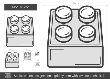 Module vector line icon isolated on white background. Module line icon for infographic, website or app. Scalable icon designed on a grid system.