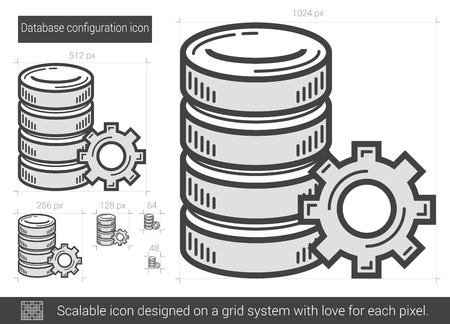 Database configuration vector line icon isolated on white background. Database configuration line icon for infographic, website or app. Scalable icon designed on a grid system. Illustration