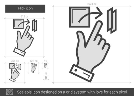 flick: Flick vector line icon isolated on white background. Flick line icon for infographic, website or app. Scalable icon designed on a grid system.