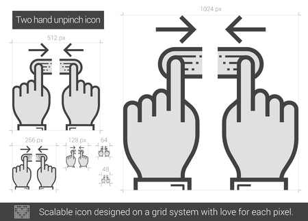 multi finger: Two hand unpinch vector line icon isolated on white background. Two hand unpinch line icon for infographic, website or app. Scalable icon designed on a grid system.