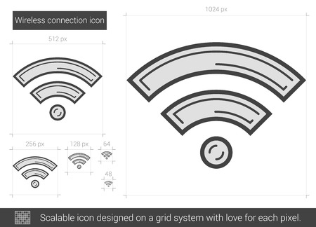 wireless connection: Wireless connection vector line icon isolated on white background. Wireless connection line icon for infographic, website or app. Scalable icon designed on a grid system.