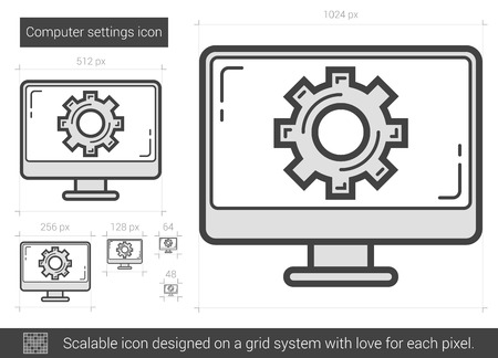 Computer settings vector line icon isolated on white background. Computer settings line icon for infographic, website or app. Scalable icon designed on a grid system. Illustration