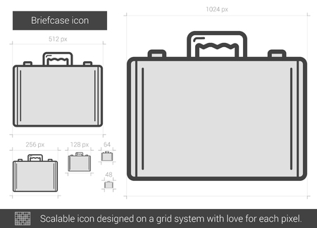 Briefcase vector line icon isolated on white background. Briefcase line icon for infographic, website or app. Scalable icon designed on a grid system. Stock Illustratie