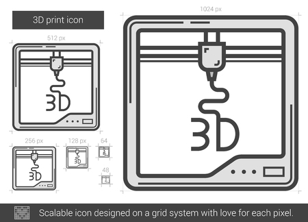 three d: Three D print vector line icon isolated on white background. Three D print line icon for infographic, website or app. Scalable icon designed on a grid system. Illustration