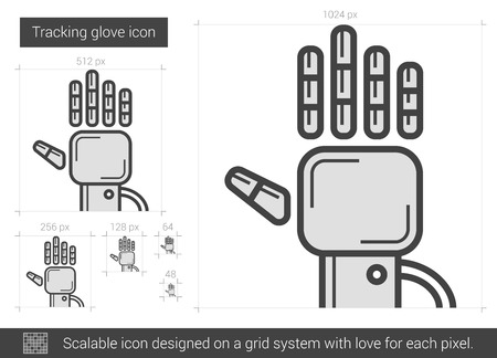 tracking: Tracking glove vector line icon isolated on white background. Tracking glove line icon for infographic, website or app. Scalable icon designed on a grid system. Illustration