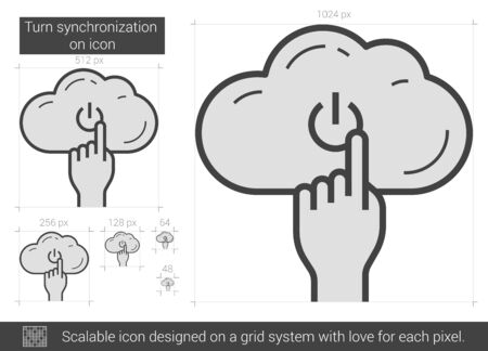 scalable: Turn synchronization on vector line icon isolated on white background. Scalable icon designed on a grid system. Illustration