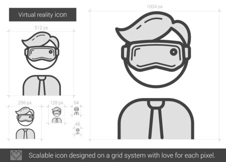 Virtual reality vector line icon isolated on white background. Virtual reality line icon for infographic, website or app. Scalable icon designed on a grid system. Ilustrace