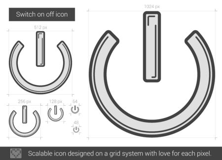 scalable: Switch on off vector line icon isolated on white background. Scalable icon designed on a grid system.