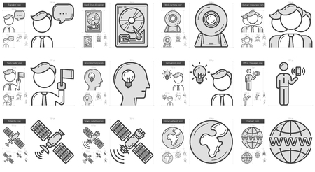 domains: Technology vector line icon set isolated on white background. Technology line icon set for infographic, website or app. Scalable icon designed on a grid system.