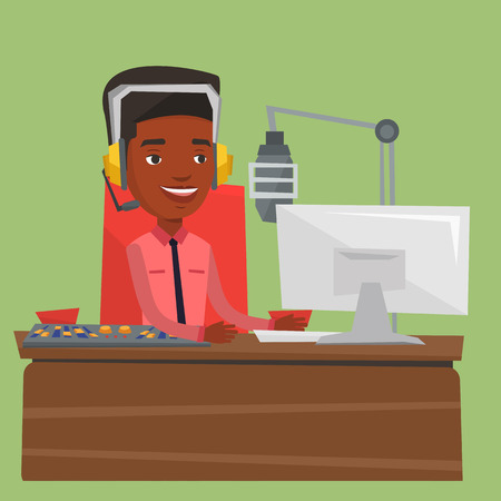 radio station: African-american dj working on a radio station. Radio dj speaking into a microphone in a studio. News presenter in headset working on a radio station. Vector flat design illustration. Square layout.