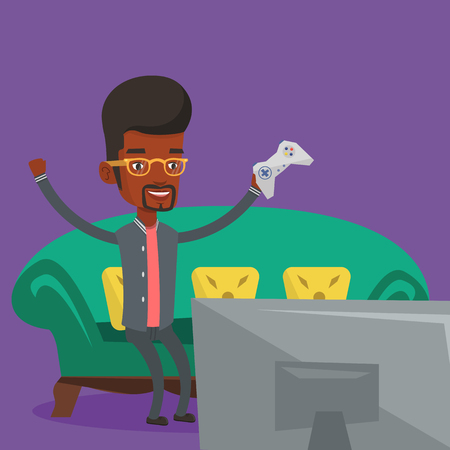 video game: African-american guy playing video game. Excited young man with console in hands playing video game at home. Man celebrating his victory in video game. Vector flat design illustration. Square layout. Illustration