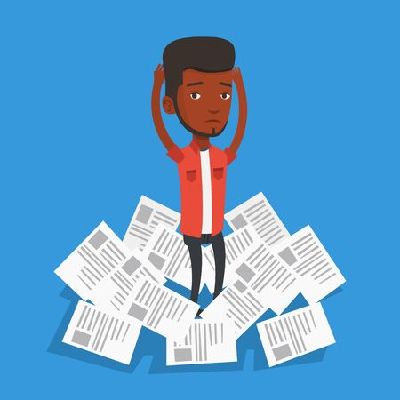 overwhelmed: African-american businessman surrounded by lots of papers. Overworked businessman having a lot of paperwork. Businessman standing in the heap of papers. Vector flat design illustration. Square layout