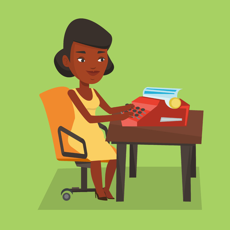 An african-american young female journalist writing an article on a vintage typewriter. Concentrated female journalist working on retro typewriter. Vector flat design illustration. Square layout.