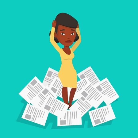 overwhelmed: An african businesswoman surrounded by lots of papers. Overworked business woman having a lot of paperwork. Businesswoman standing in the heap of papers. Vector flat design illustration. Square layout