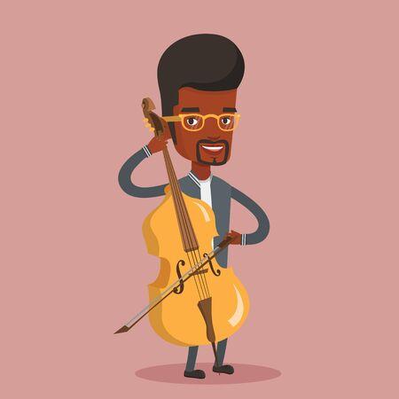 Jonge gelukkig Afro-Amerikaanse muzikant cello spelen. Cellist die klassieke muziek op cello speelt. Jongelui die mannelijke musicus met cello en boog glimlachen. Vector platte ontwerp illustratie. Vierkante lay-out.
