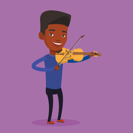 An african-american male musician standing with violin. Young smiling musician playing violin. Cheerful violinist playing classical music on violin. Vector flat design illustration. Square layout.