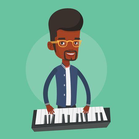 pianista: Un pianista de sexo masculino African-American que juega en el sintetizador. sonriente joven músico tocando el piano. Pianista tocando piano vertical. Vector de diseño plano ilustración. de planta cuadrada.