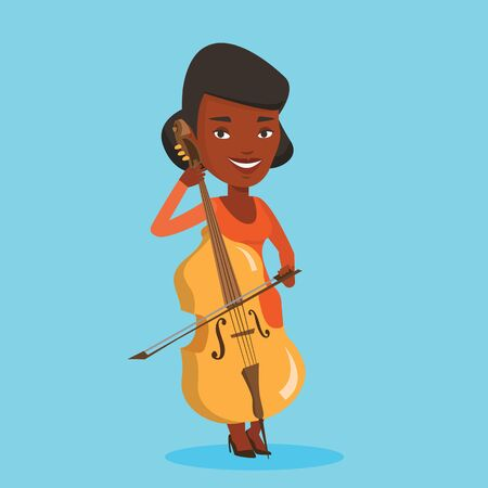 cellist: Young happy african-american musician playing cello. Cellist playing classical music on cello. Young smiling female musician with cello and bow. Vector flat design illustration. Square layout.
