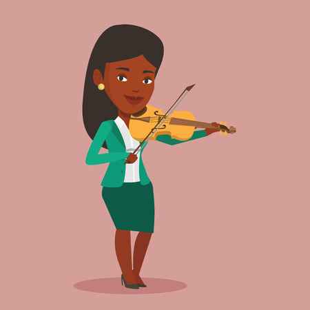An african-american female musician standing with violin. Young smiling musician playing violin. Cheerful violinist playing classical music on violin. Vector flat design illustration. Square layout.