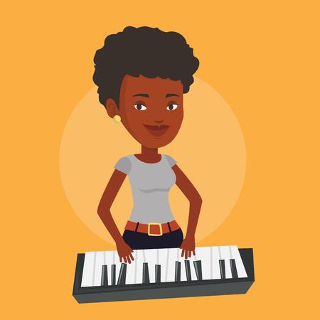 pianista: Un pianista afroamericano mujer que juega en el sintetizador. sonriente joven músico tocando el piano. Pianista tocando piano vertical. Vector de diseño plano ilustración. de planta cuadrada.