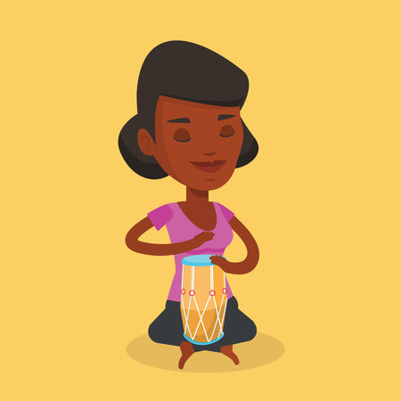 An african-american musician playing ethnic drum. Young woman with eyes closed playing ethnic drum. Woman playing ethnic music on tom-tom. Vector flat design illustration. Square layout.