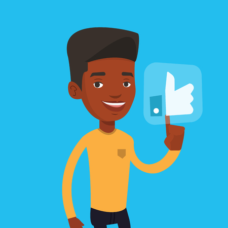 An african-american man pressing social button with thumb up. Young happy man pressing like button. Man pressing social network like button. Vector flat design illustration. Square layout.