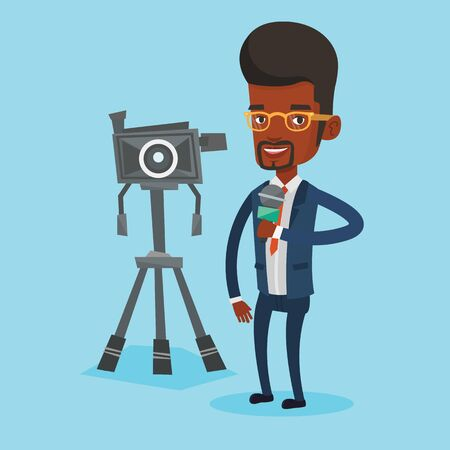 An african-american TV reporter with microphone standing on the background with camera. TV reporter presenting the news. TV transmission with reporter. Vector flat design illustration. Square layout. Illustration