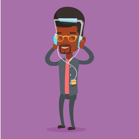 relaxed man: An african-american man listening to music on her smartphone. Man in headphones listening to music. Relaxed man with eyes closed enjoying music. Vector flat design illustration. Square layout. Illustration
