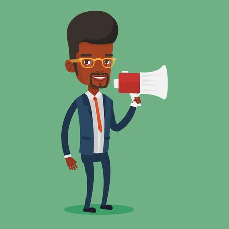 businessman using a megaphone: Businessman promoter holding megaphone. Business man speaking into a megaphone. Businessman advertising using megaphone. Social media marketing concept. Vector flat design illustration. Square layout.