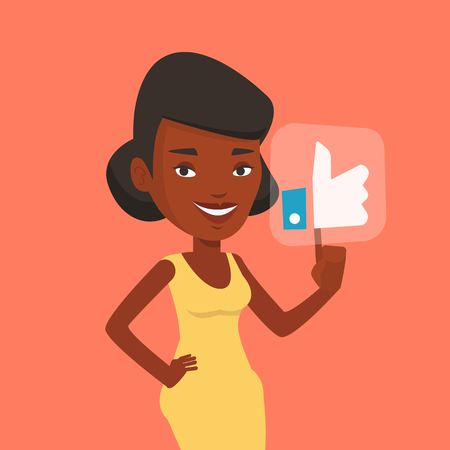 An african-american woman pressing social button with thumb up. Young happy woman pressing like button. Woman pressing social network like button. Vector flat design illustration. Square layout. Ilustração