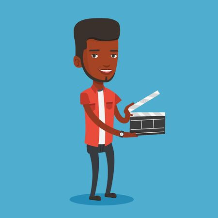 film industry: African-american happy man working with a clapperboard. Smiling man holding an open clapperboard. Cheerful man holding blank movie clapperboard. Vector flat design illustration. Square layout.