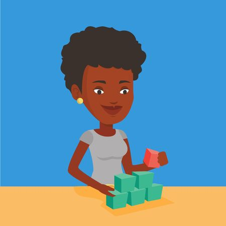 An african-american young woman making pyramid of network avatars. Smiling woman building her social network. Network and communication concept. Vector flat design illustration. Square layout.