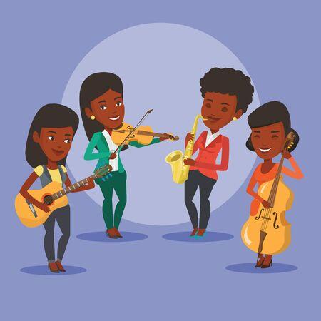 Band of muzikanten spelen op muziekinstrumenten. Groep jonge musici spelen op muziekinstrumenten. Band of musici met instrumenten. Vector platte ontwerp illustratie. vierkante lay-out