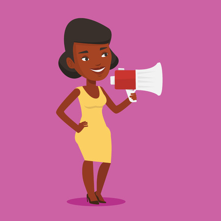 An african-american woman holding megaphone. Woman promoter speaking into a megaphone. Woman advertising using megaphone. Social media marketing concept. Vector flat design illustration. Square layout Illustration