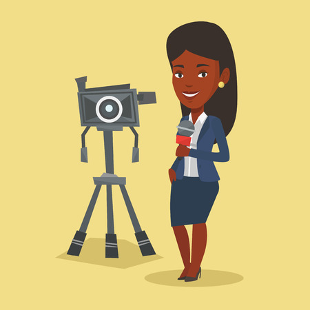 record breaking: An african-american TV reporter with microphone standing on the background with camera. TV reporter presenting the news. TV transmission with reporter. Vector flat design illustration. Square layout. Illustration