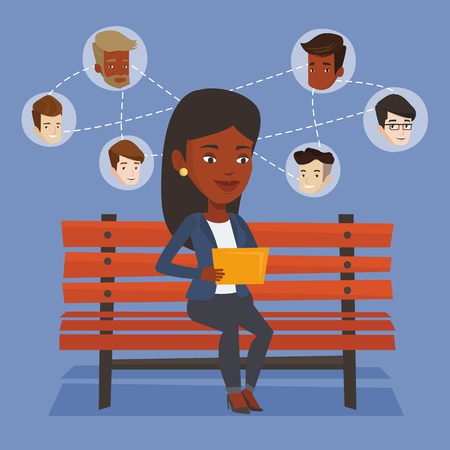 An african woman sitting on bench and using tablet computer with network avatar icons above. Woman surfing in the social network. Social network concept. Vector flat design illustration. Square layout Illustration