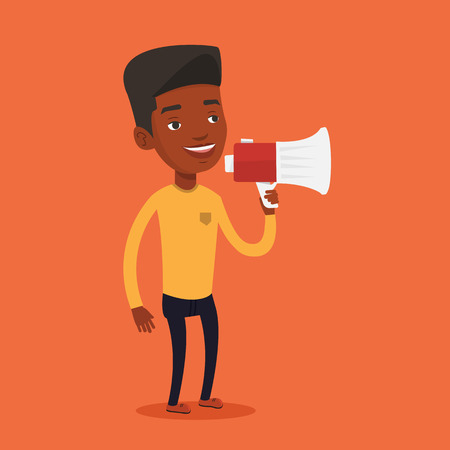 promoter: An african-american man holding megaphone. Man promoter speaking into a megaphone. Man advertising using megaphone. Social media marketing concept. Vector flat design illustration. Square layout
