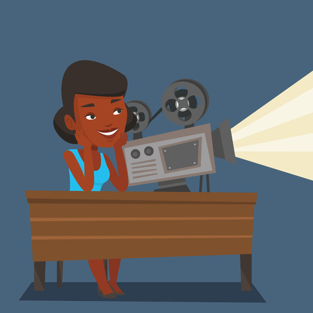 film projector: An african projectionist showing new film. Woman sitting at the table with film projector in the room of projectionist. Young projectionist at work. Vector flat design illustration. Square layout. Illustration