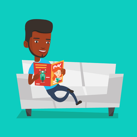 An african-american man reading a magazine. Relaxed man sitting on sofa and reading a magazine. Young man sitting on the couch with magazine in hands. Vector flat design illustration. Square layout.