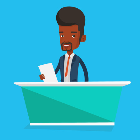 announcer: An african-american television anchorman at studio during live broadcasting. Television anchorman working at studio. Tv anchorman reporting the news. Vector flat design illustration. Square layout.