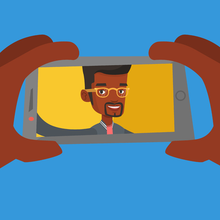 An african-american young joyful man making selfie. Smiling man making selfie with cellphone. Cheerful man taking selfie using his smartphone. Vector flat design illustration. Square layout.