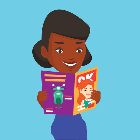 An african-american woman reading a magazine. Young woman standing with magazine in hands. Happy woman reading good news in a magazine. Vector flat design illustration. Square layout. Illustration