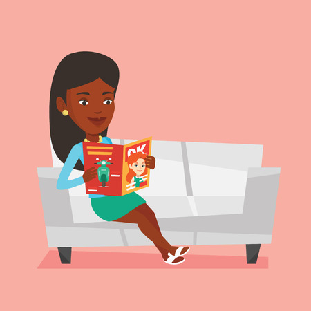 An african-american woman reading a magazine. Relaxed woman sitting on sofa and reading a magazine. Woman sitting on the couch with magazine in hands. Vector flat design illustration. Square layout. Ilustração