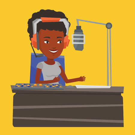 radio dj: African-american dj working on a radio station. Radio dj speaking into a microphone in a studio. News presenter in headset working on a radio station. Vector flat design illustration. Square layout.