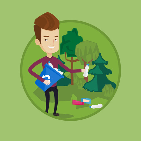 Man collecting garbage in forest. Illustration