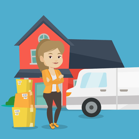 house for sale: Homeowner standing in front of new home. Woman moving to a new house. Caucasian homeowner unloading cardboard boxes. Homeowner unpacking removal truck. Vector flat design illustration. Square layout.