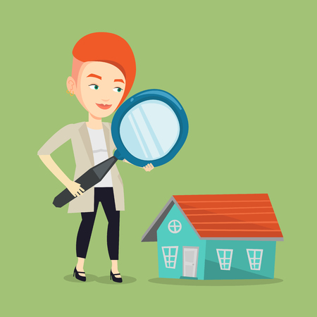 Caucasian woman using a magnifying glass for looking for a new house. Woman with a magnifying glass checking a house. Woman analyzing house with loupe. Vector flat design illustration. Square layout.