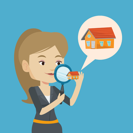 Caucasian woman looking for a new house in real estate market. Young woman using a magnifying glass for seeking a new housein real estate market. Vector flat design illustration. Square layout. Stock Illustratie