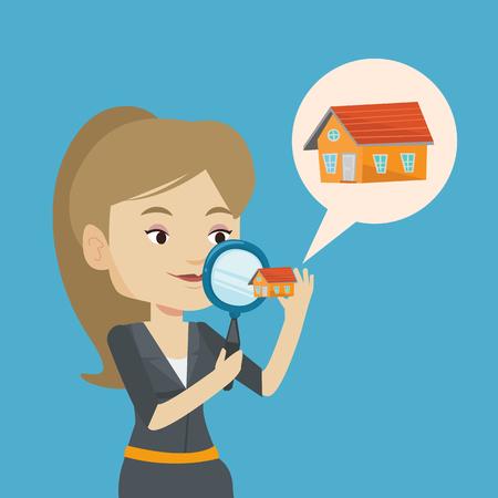 mujer de raza blanca en busca de una nueva casa en el mercado inmobiliario. Mujer joven que usa una lupa para la búsqueda de un nuevo mercado de bienes raíces housein. Vector de diseño plano ilustración. de planta cuadrada.