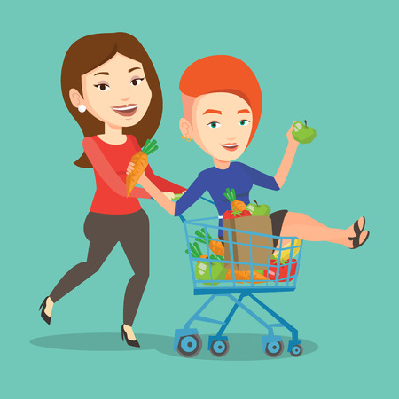 carefree: Happy caucasian woman pushing a shopping trolley with her friend. Couple of young carefree friends having fun while riding by shopping trolley. Vector flat design illustration. Square layout.